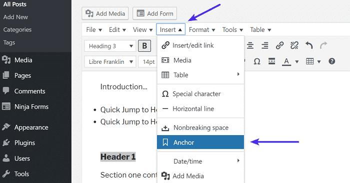 Add anchor - Insert Anchor