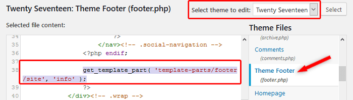 Get Template Part - Edit Footer