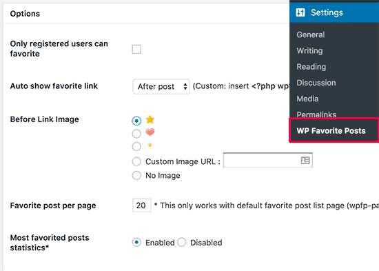 WP Favorite Posts Options