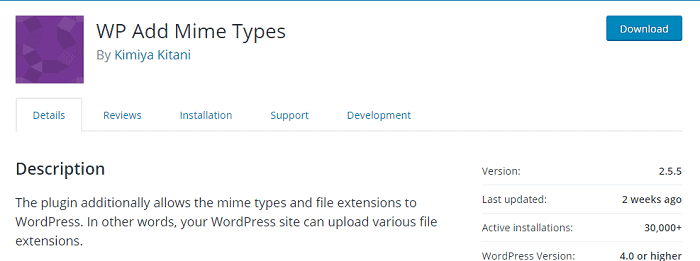 WP Add Mime Types plugin