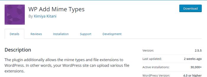 WP Add Mime Types plugin