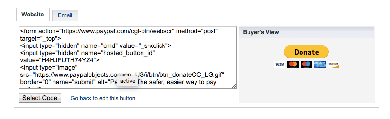 PayPal Donations Button Code