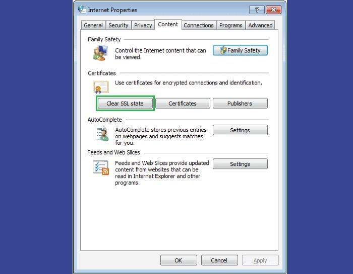 Clear SSL State - SSL Protocol Error
