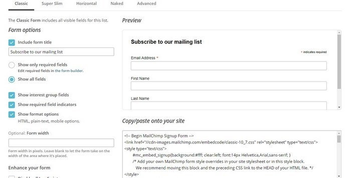 Setting up MailChimp