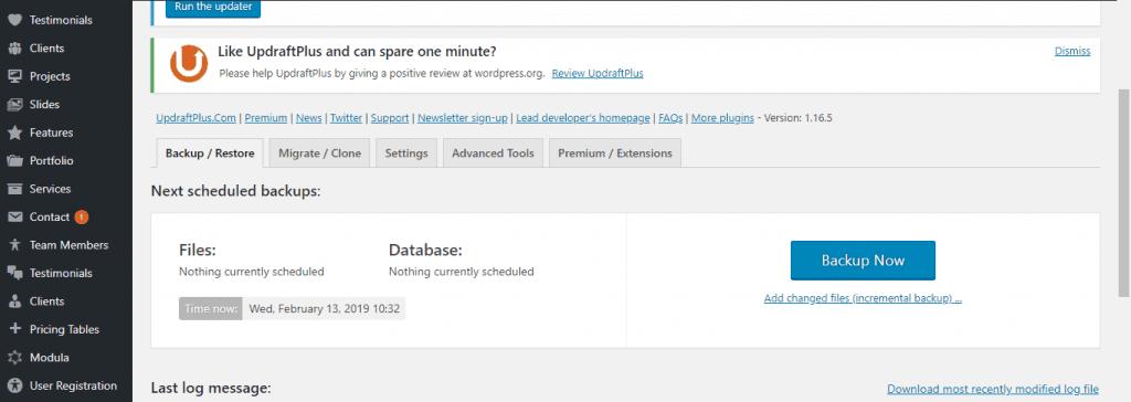Backup Plugin Settings
