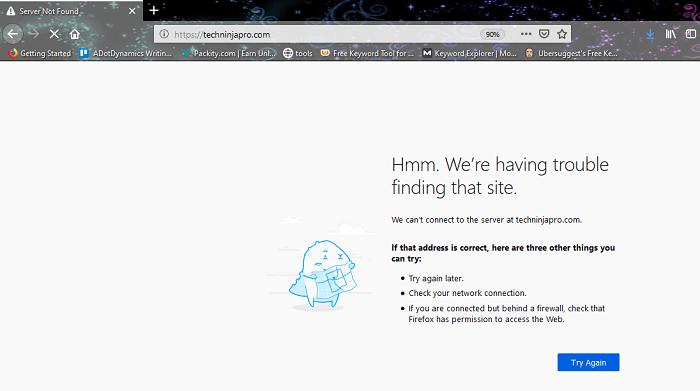 DNS_PROBE_FINISHED_NXDOMAIN - Mozilla Firefox
