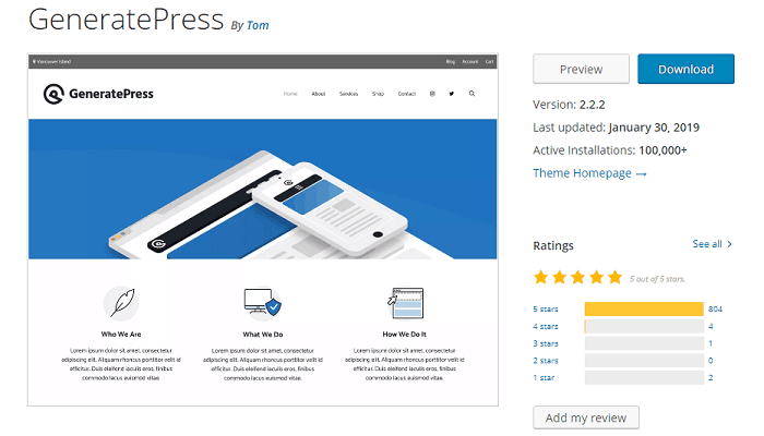 GeneratePress rating at WordPress.org
