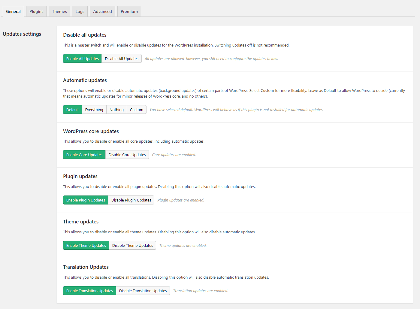 Easy Updates Manager Options