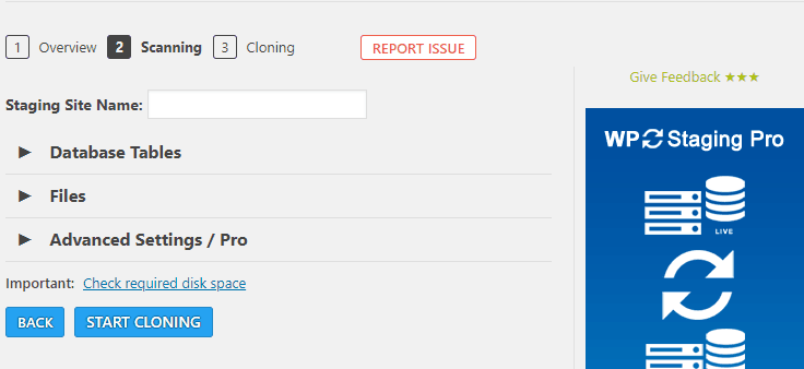 WP Staging Choose Files